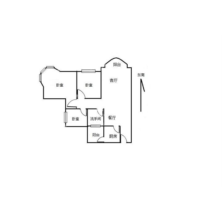 三房户型图手绘